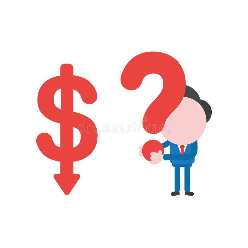 Dirigez le caractère d'homme d'affaires avec la flèche du dollar abaissant et le h illustration libre de droits