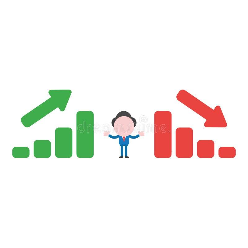 Dirigez le caractère d'homme d'affaires entre les histogrammes de ventes se relevant illustration stock