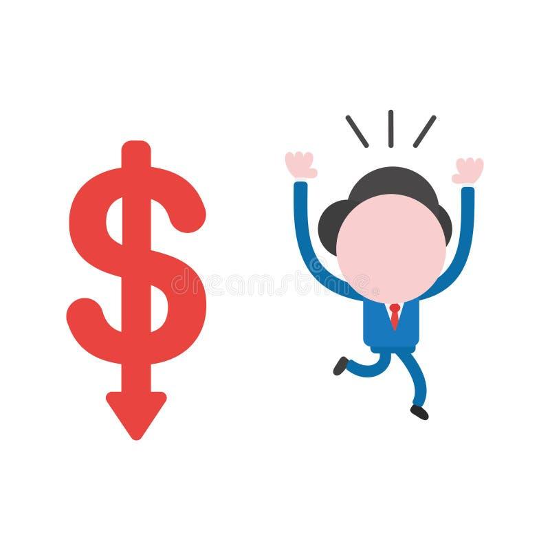 Dirigez le caractère d'homme d'affaires fonctionnant à partir du movi de flèche du dollar illustration de vecteur