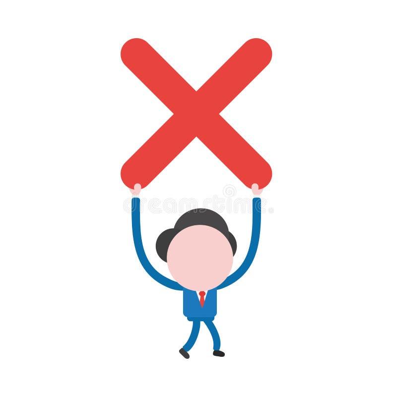 Dirigez le caractère d'homme d'affaires marchant et retardant la marque de x illustration stock