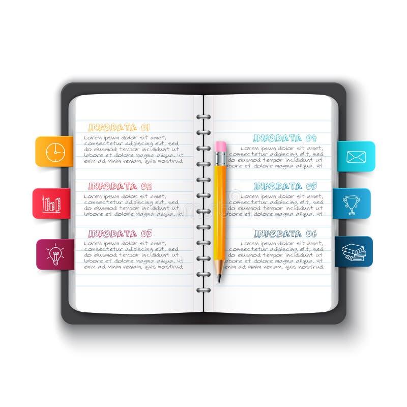 Dirigez le carnet avec le crayon et les repères pour infographic illustration libre de droits