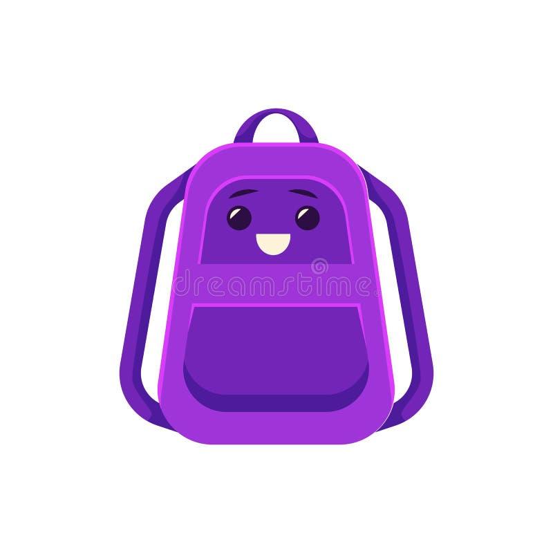 Dirigez le cartable, sac à dos avec des fournitures scolaires illustration libre de droits