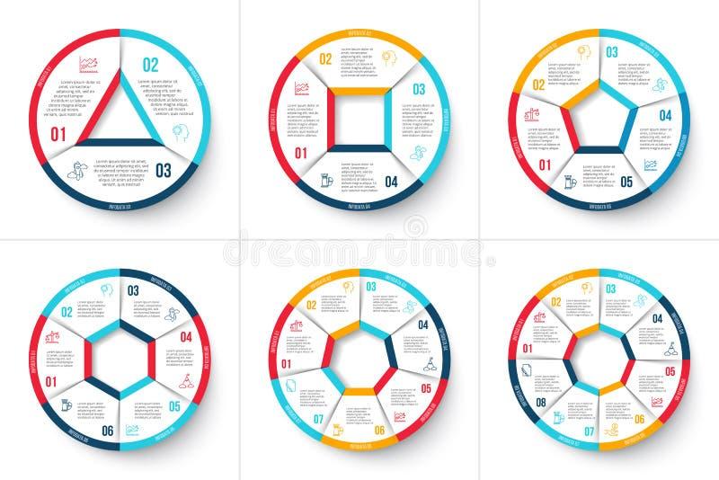 Dirigez le cercle infographic avec 3, 4, 5, 6, 7 et 8 étapes illustration stock
