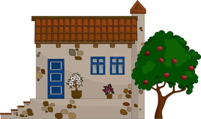 Dirigez le chalet rural de pierre de maison d'illustration, maison avec le porche avec des étapes illustration libre de droits