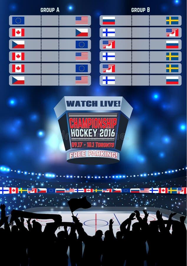 Dirigez le championnat vide Toronto de fond de champ de panneau d'arène de hockey sur glace Affiche verticale illustration stock