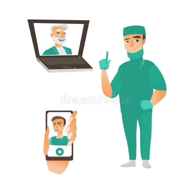 Dirigez le chirurgien dans les médecins uniformes dans l'ordinateur portable, téléphone illustration stock