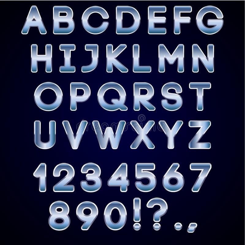 Dirigez le chrome audacieux et les lettres au néon bleues d'alphabet illustration stock