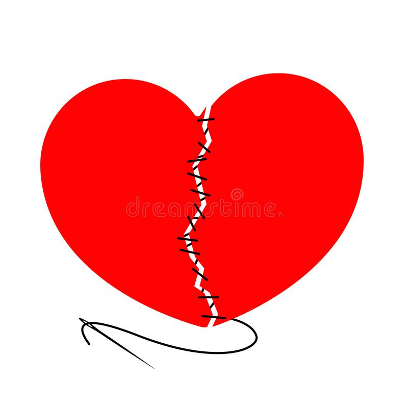 Dirigez le coeur déchiré et piqué avec l'aiguille noire de fil L'élément de conception est isolé sur un fond clair illustration libre de droits