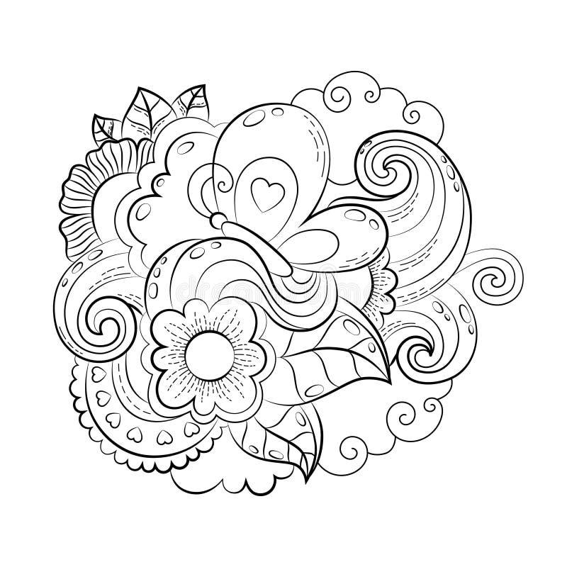 Dirigez le coeur drôle tiré par la main, chat, oiseau, bonbon, nuage, le ballon, illustration de papillon pour livre de coloriage illustration stock