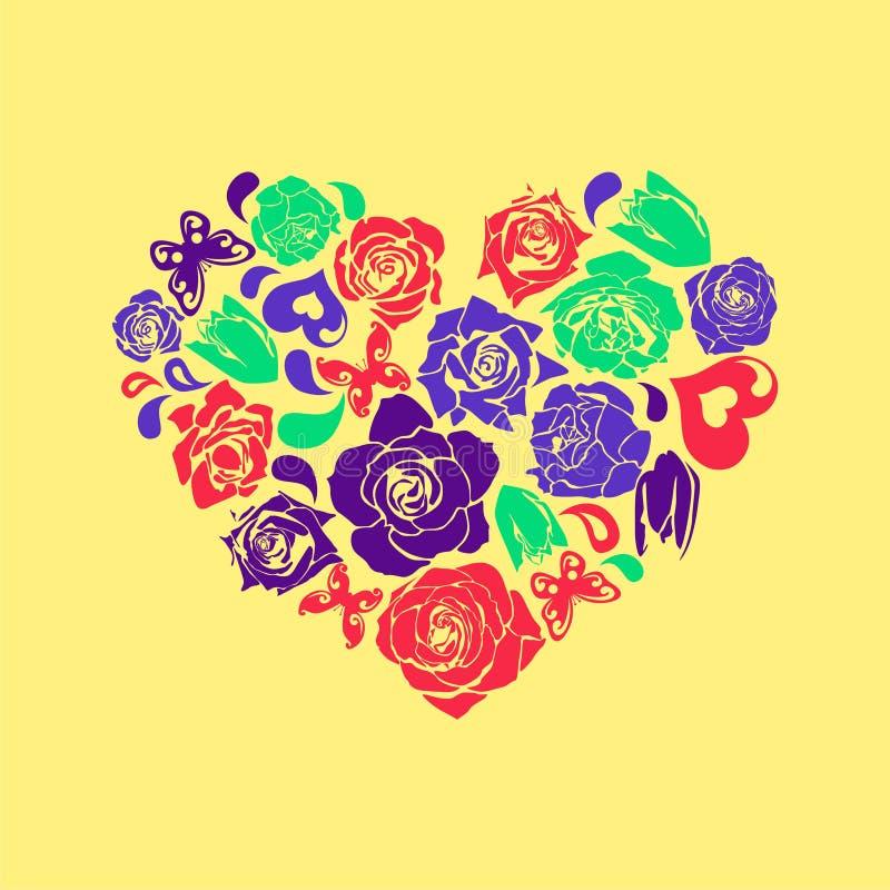 Dirigez le coeur floral illustration de vecteur