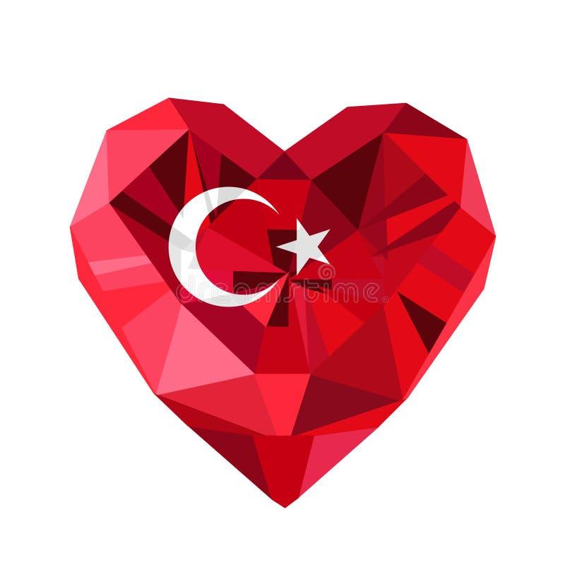 Dirigez le coeur turc de bijoux avec le drapeau de la république turque illustration stock
