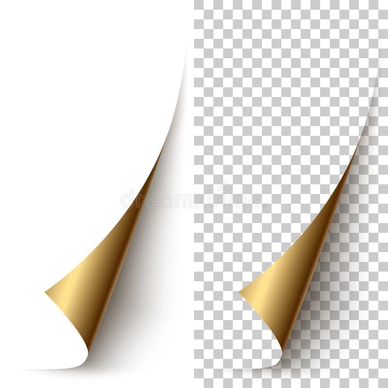 Dirigez le coin de papier vertical d'aluminium d'or enroulé illustration stock