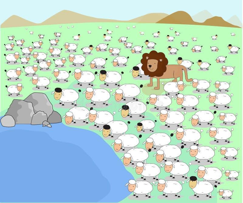 Dirigez le concept animal d'étang d'agneau de moutons de troupeau de lion d'illustrateur illustration libre de droits
