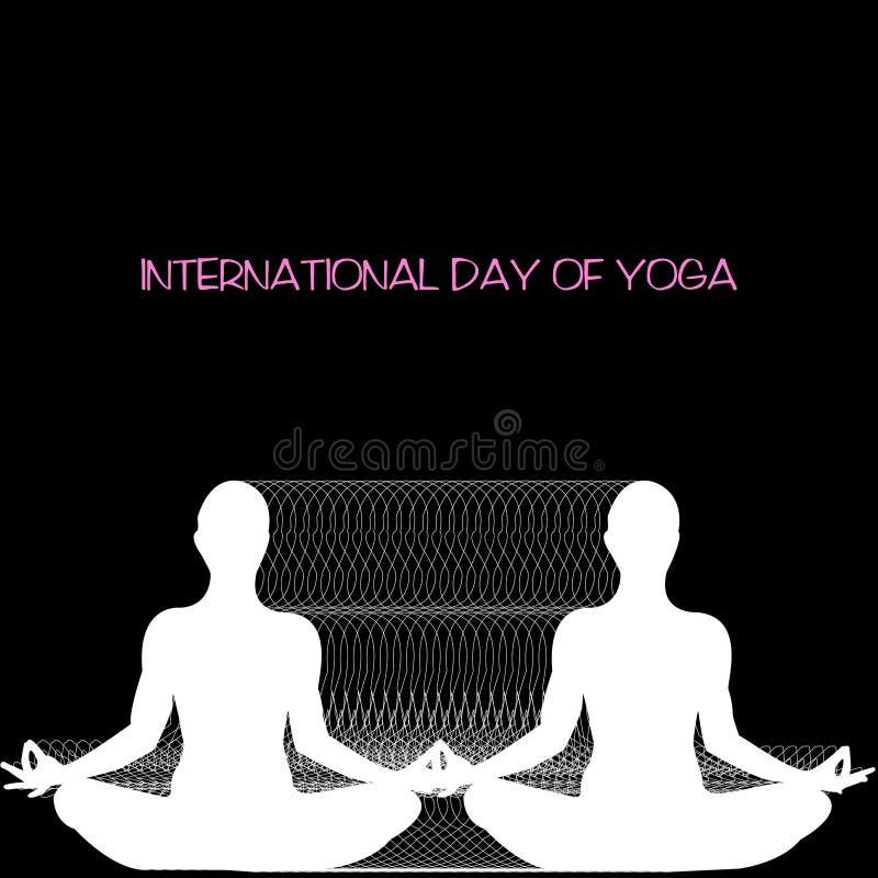 Dirigez le concept avec les silhouettes blanches femelles sur le fond noir, jour international de yoga illustration de vecteur