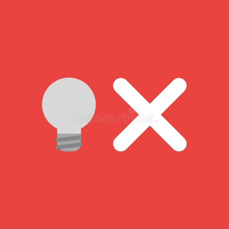 Dirigez le concept d'icône de l'ampoule grise avec la marque de x sur le backgr rouge illustration stock