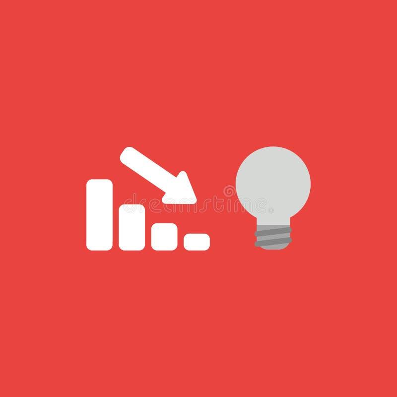 Dirigez le concept d'icône de la barre analogique de ventes abaissant avec le lig gris illustration stock