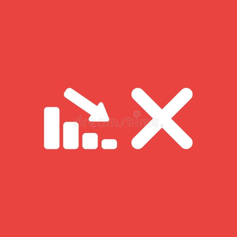Dirigez le concept d'icône de la barre analogique de ventes abaissant avec la marque o de x illustration de vecteur