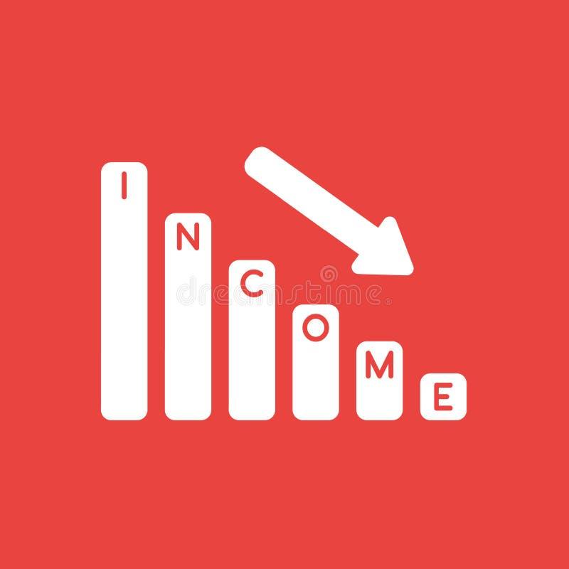 Dirigez le concept d'icône de la flèche de barre analogique de ventes de revenu abaissant illustration libre de droits