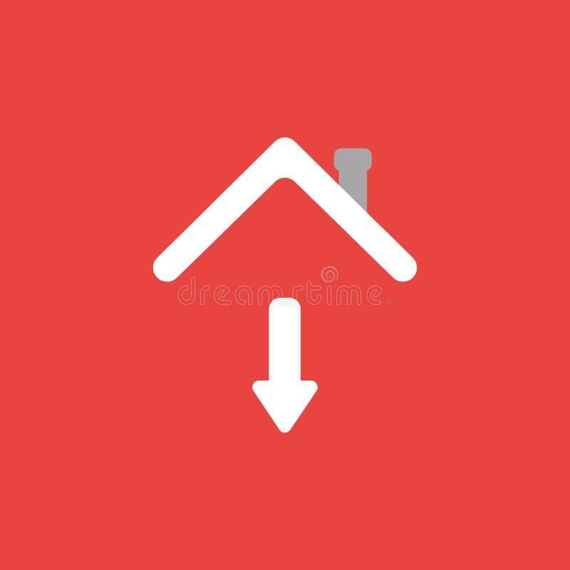 Dirigez le concept d'icône de la flèche se déplaçant vers le bas sous le toit de maison sur le rouge illustration libre de droits
