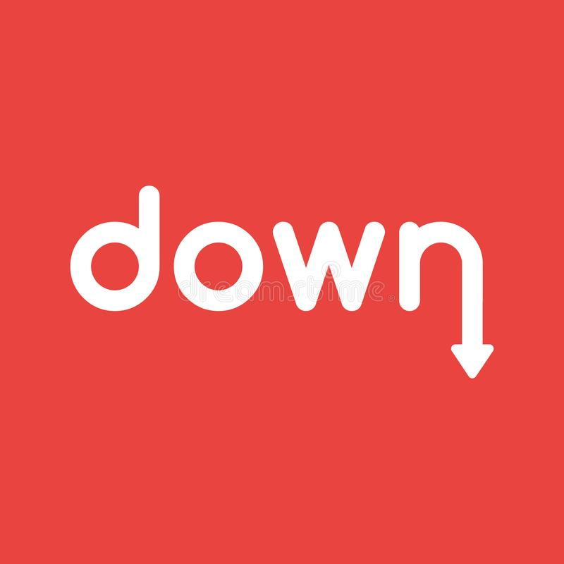 Dirigez le concept d'icône de vers le bas expriment avec la flèche se déplaçant vers le bas sur b rouge illustration de vecteur