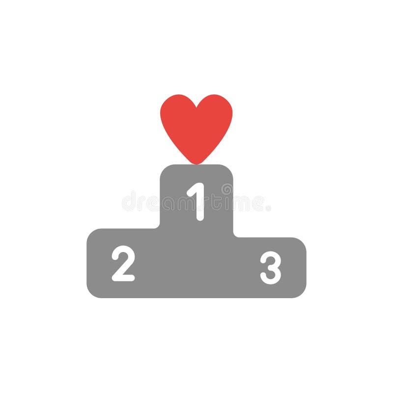 Dirigez le concept d'icône du coeur sur le premier endroit du podium de gagnants illustration de vecteur