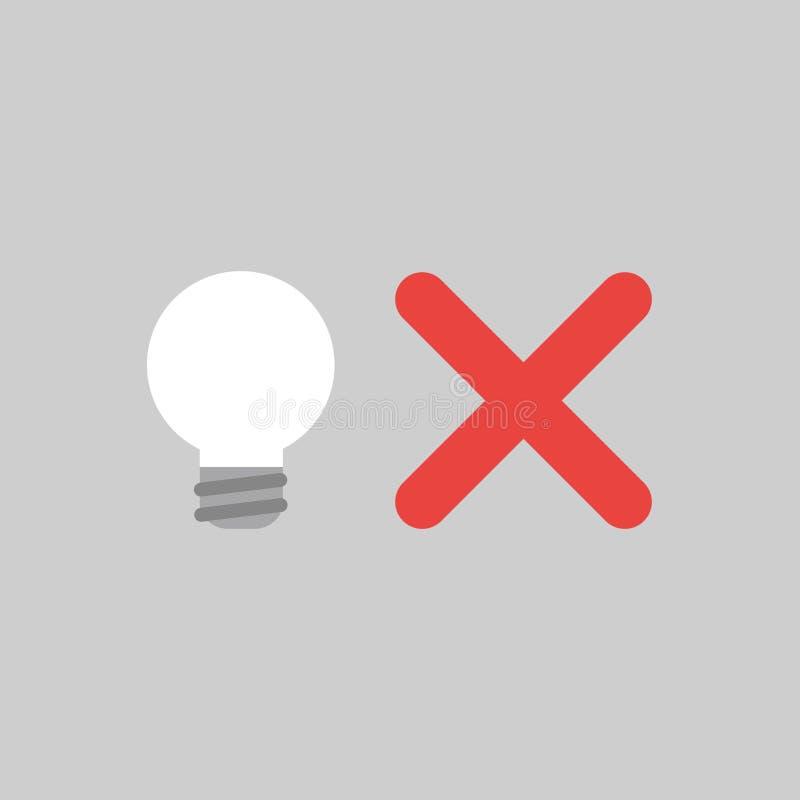 Dirigez le concept d'icône du mark léger du bulbwith X sur le fond gris illustration libre de droits