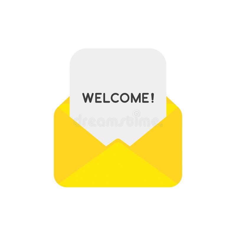 Dirigez le concept d'icône du papier bienvenu à l'intérieur de l'enveloppe de courrier illustration libre de droits