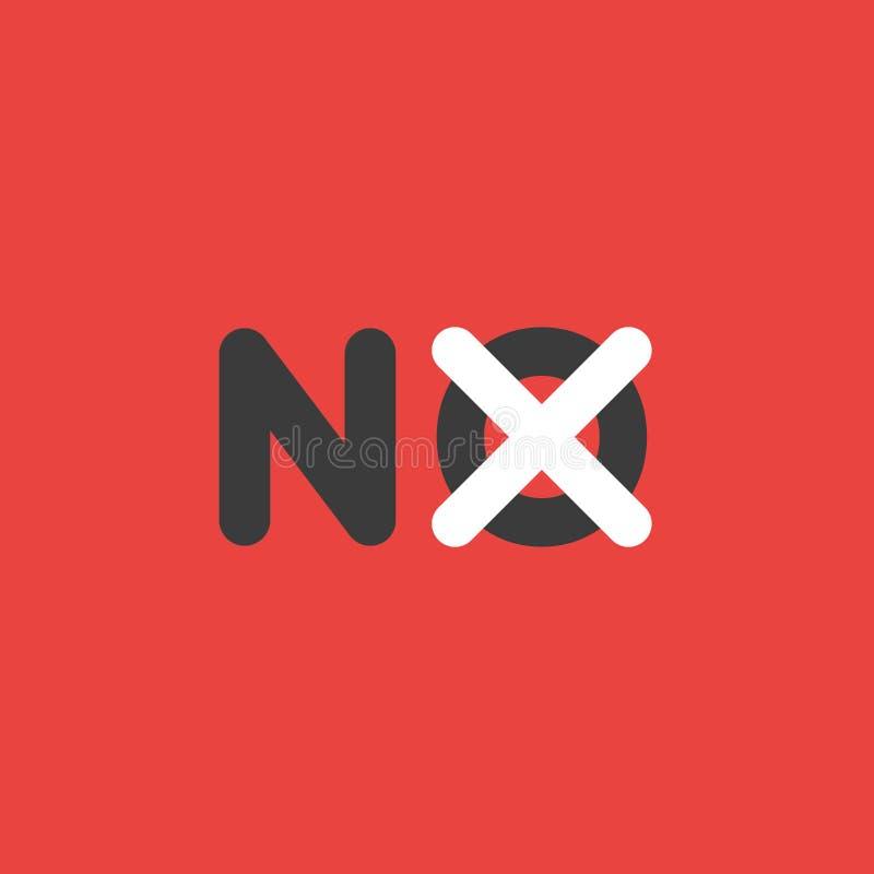 Dirigez le concept d'icône sans mot avec la marque de x sur le fond illustration de vecteur