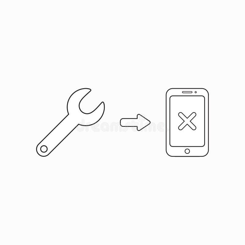 Dirigez le concept d'ic?ne du smartphone de r?paration avec la cl? illustration libre de droits