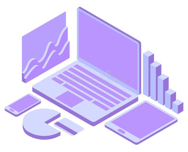 Dirigez le concept 3d isom?trique du commerce ?lectronique, magasin en ligne Service d'achats, paiement par le smartphone ou ordi illustration libre de droits