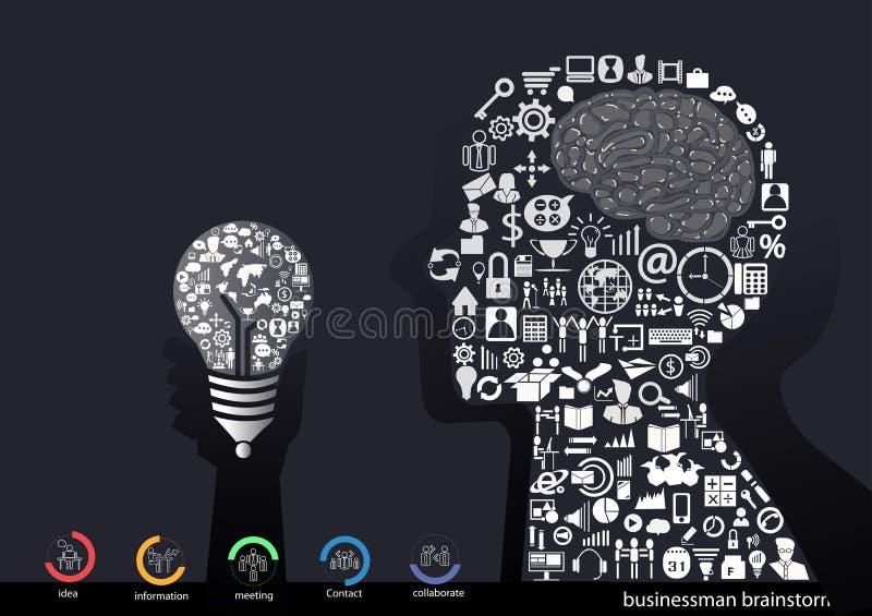 Dirigez le concept de construction plat d'illustration pour l'analyse commerciale et la planification, séance de réflexion, reche illustration de vecteur