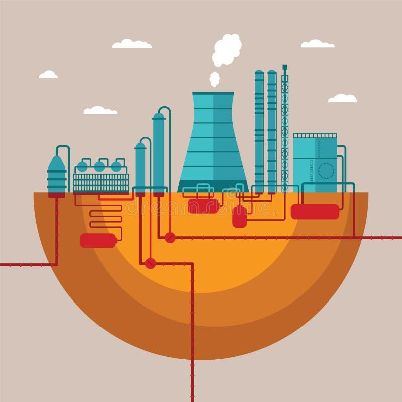 Dirigez le concept de l'usine de raffinerie pour traiter les ressources naturelles illustration de vecteur