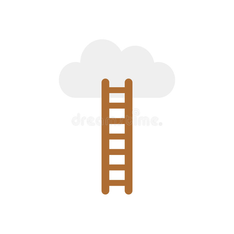 Dirigez le concept de la montée au nuage avec l'échelle sur le blanc avec f illustration libre de droits