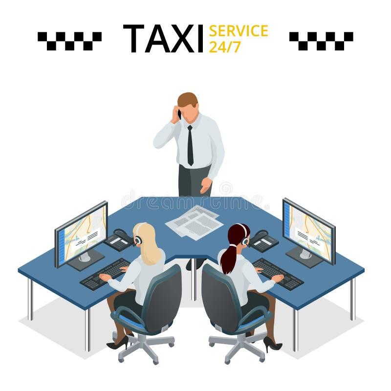 Dirigez le concept du service de taxi, de l'appui technique de voiture et du centre d'appels d'expéditeur Opérateur féminin sur l illustration stock