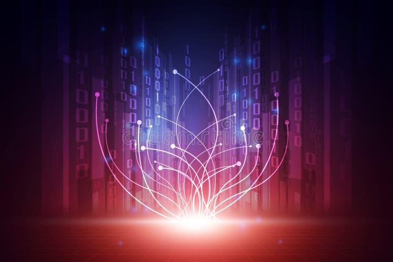 Dirigez le concept futuriste abstrait de fond de technologie, illustration haut numérique illustration stock