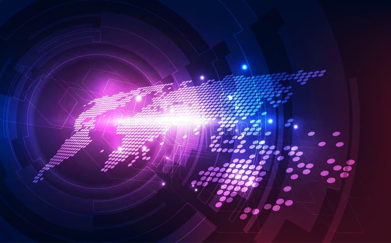 Dirigez le concept global numérique de technologie, fond abstrait illustration stock