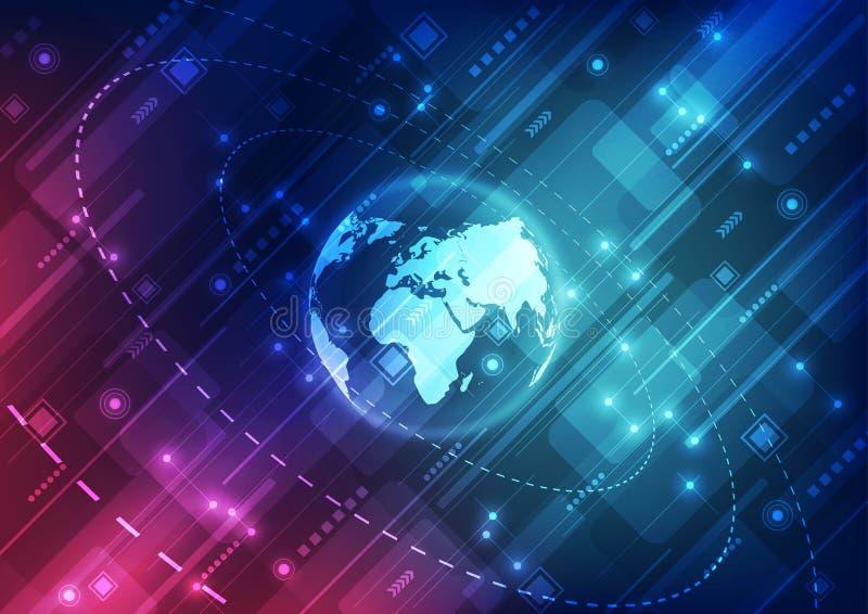 Dirigez le concept global numérique de technologie, illustration abstraite de fond illustration libre de droits