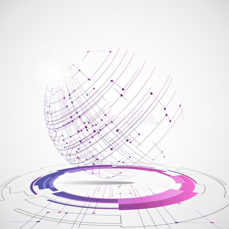 Dirigez le concept global numérique de technologie, illustration abstraite de fond illustration stock