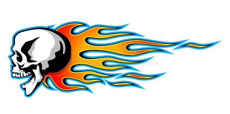 Dirigez le crâne brûlant avec les flammes tribales classiques d'isolement sur le petit morceau illustration stock