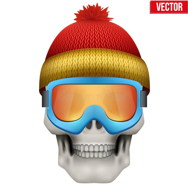Dirigez le crâne humain avec le chapeau et les lunettes d'hiver illustration de vecteur