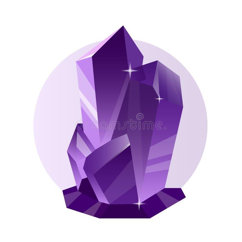 Dirigez le cristal décoratif et le minerai violets d'isolement sur le blanc illustration stock