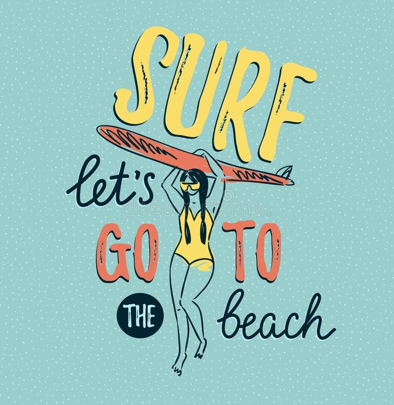 Dirigez le croquis de la jeune femme en silhouette de costume de bain tenant la planche de surf Fond d'été avec le lettrage éléga illustration stock