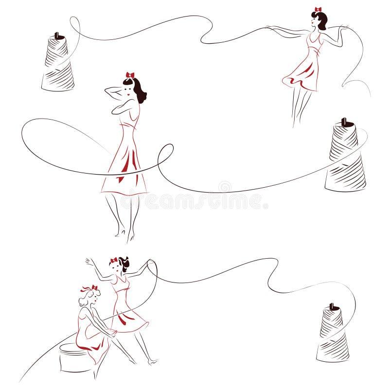 Dirigez le croquis tiré par la main - fille abstraite avec une bobine de fil illustration libre de droits