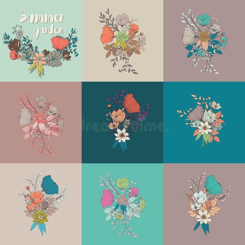Dirigez le decorati de bouquet, de collection, botanique et floral de fleur illustration stock