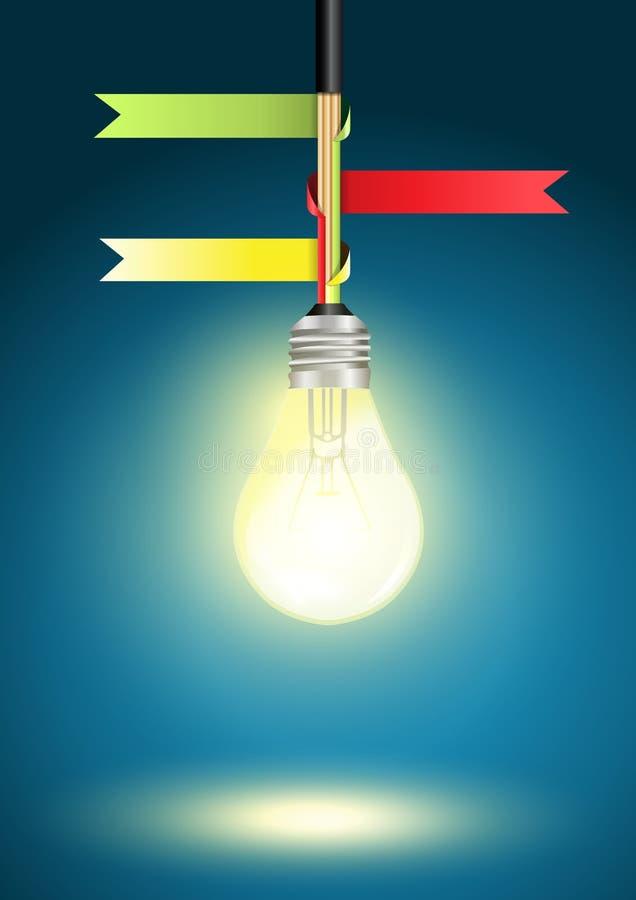 Dirigez le descripteur créatif avec l'idée d'ampoule illustration libre de droits