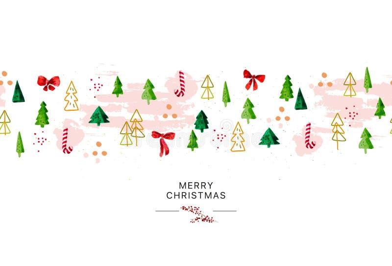 Dirigez le design d'emballage sans couture artistique pendant la nouvelle année et les joyeux cadeaux de Noël et décoration de su illustration stock