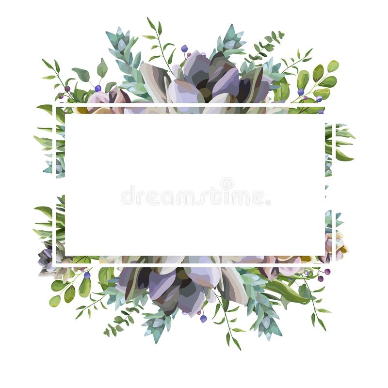 Dirigez le design de carte avec l'usine succulente de fleur, feuille d'herbe de baie illustration libre de droits