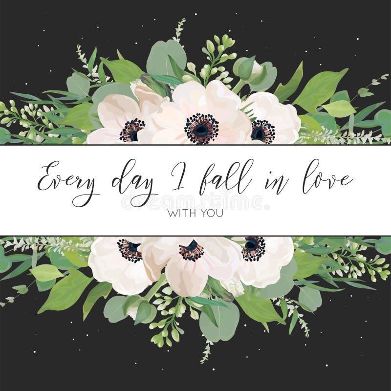 Dirigez le design de carte floral avec la lumière d'aquarelle, anémones roses, feuilles d'eucalyptus, fleurs lilas blanches, herb illustration de vecteur