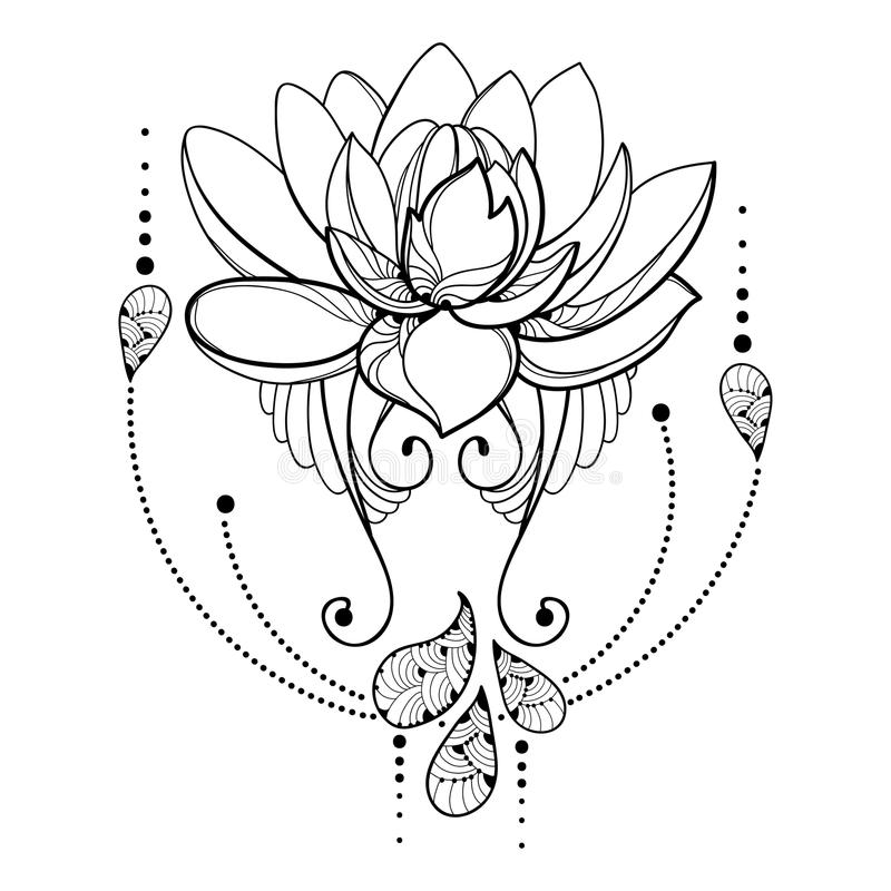 Download dirigez le dessin avec la fleur de lotus duensemble la dentelle dcorative with dessin - Coloriage fleur de lotus ...