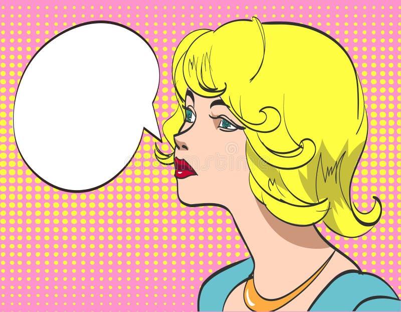 Dirigez le dessin coloré d'art de bruit de la belle femme avec la bulle de la parole ENV 10 illustration libre de droits